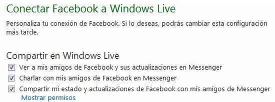 Conectar facebook a Windows Live
