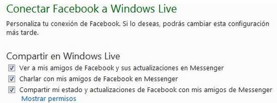 Conectar facebook a Windows Live